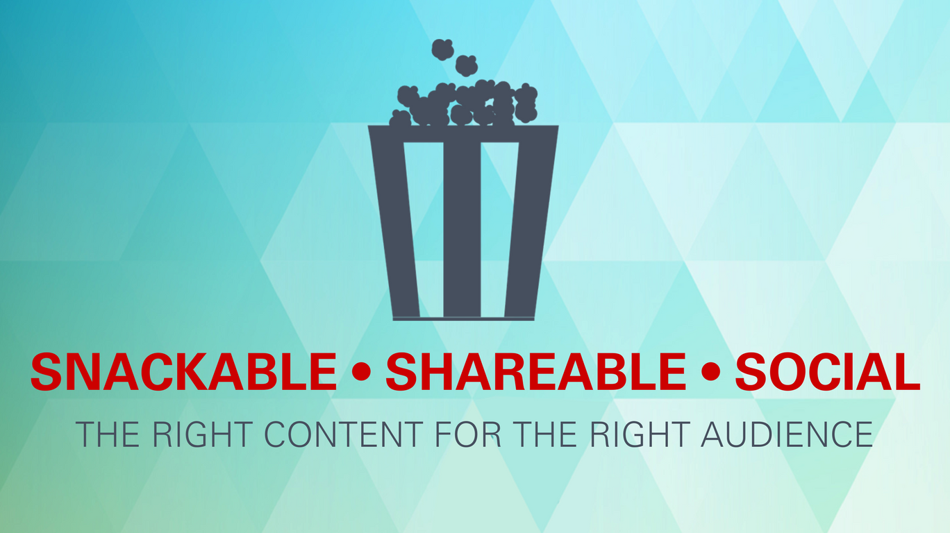 Snackable, shareable, social: The right content for the right audience.