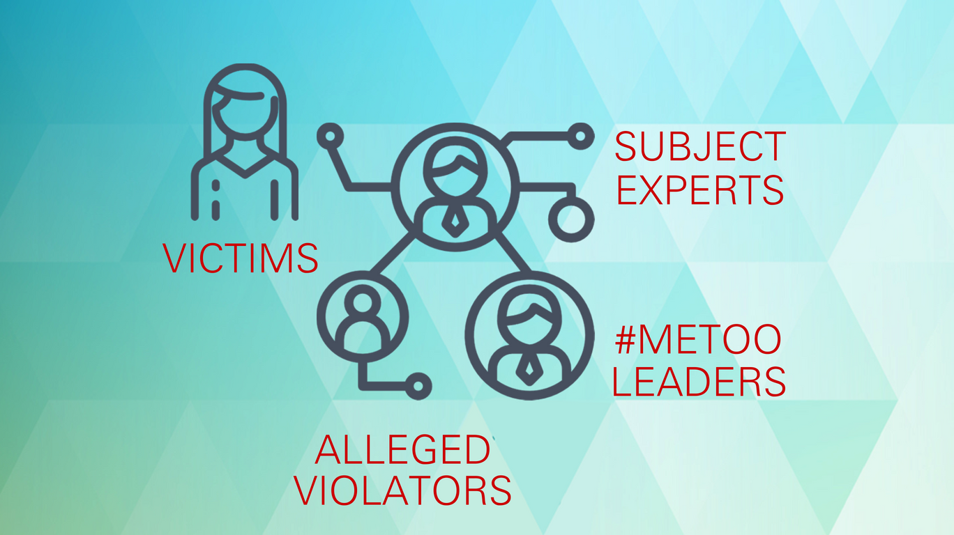 Speak with: victims, subject experts, alleged violators, #MeToo leaders.