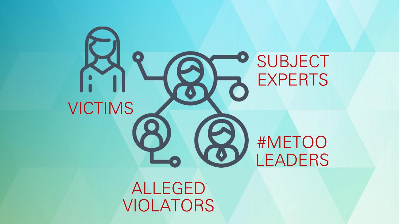 Speak with: victims, subject experts, alleged violators, #MeToo leaders.