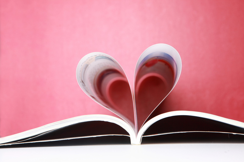 Magazine pages in the shape of a heart.