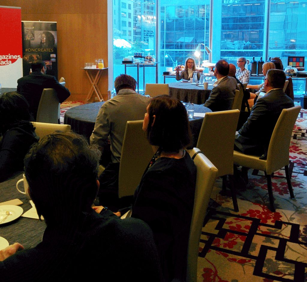 Photograph of attendees in conversation at the B2B Research Launch, held on October 24 in Toronto.