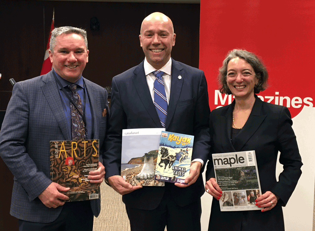 From left to right: Magazines Canada Board Chair Scott Jamieson; MP Andy Fillmore (Halifax) and Parliamentary Secretary to the Minister of Canadian Heritage and Multiculturalism; and MP Julie Dabrusin (Toronto—Danforth) and Chair of the Parliamentary Standing Committee on Canadian Heritage.