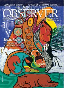 Cover of the December 2018 United Church Observer, featuring art by Oji-Cree artist Moses Beaver.
