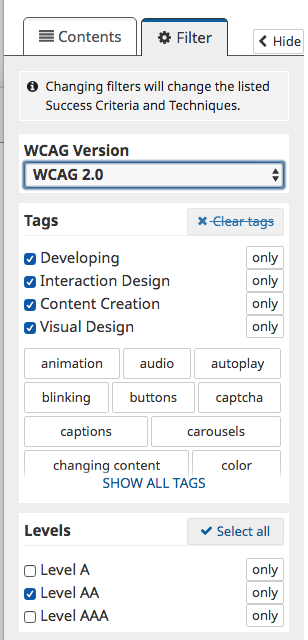 WCAG's quick reference tool filter tab showing selection options. / Onglet de l'Outil de référence rapide du Guide pour l'accessibilité du Web affichant les options offertes.