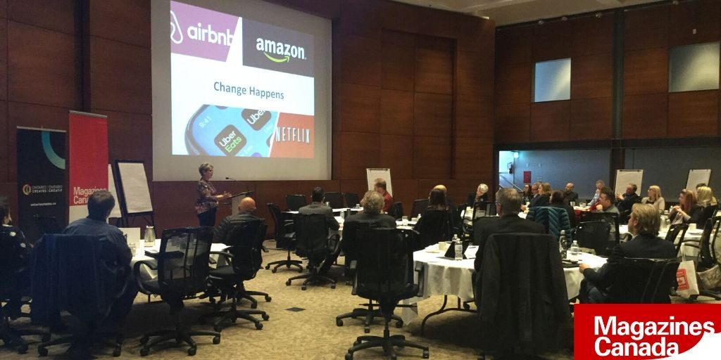 Attendees absorb a presentation at the Business Media Leadership Summit 2020